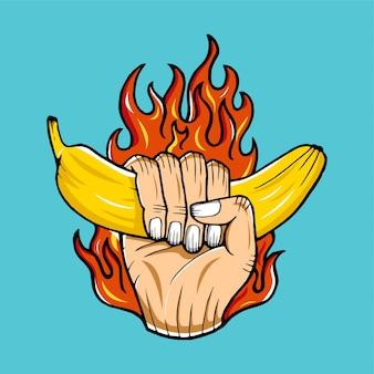 Banana flaming hand