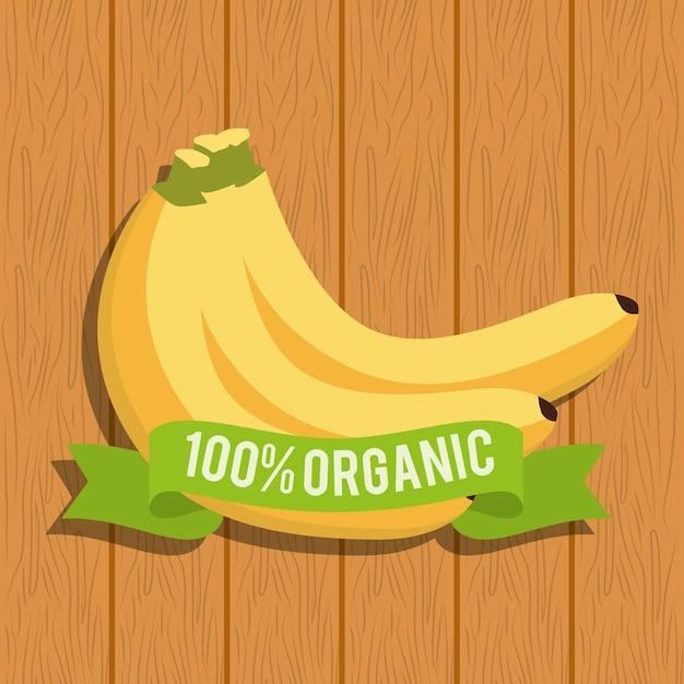 Banana food organic over wooden
