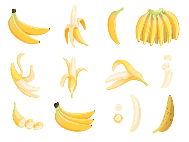 Banana fruit. appetizing dessert food eating cartoon pictures