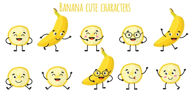 Banana fruit cute funny cheerful characters with different poses and emotions. natural vitamin antioxidant detox food collection.   cartoon isolated illustration.