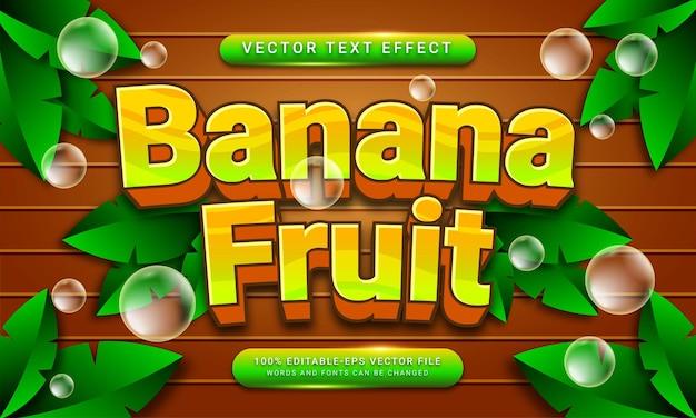 Banana fruit editable text style effect themed natural fruit