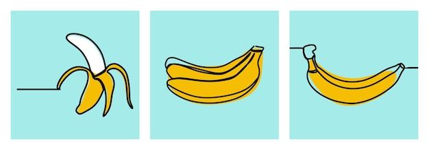 바나나 과일 최소한의 온라인 연속 라인 아트 프리미엄 벡터