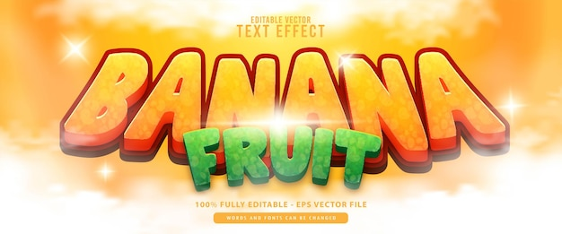 Banana fruit, premium vector editable modern 3d cute glowing cartoon style text effect, yellow green perfect for food and beverage products or game titles.