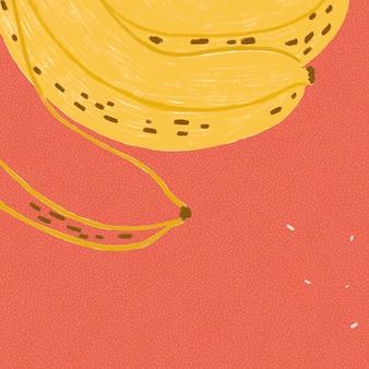 Frutto di banana su fondo rosso