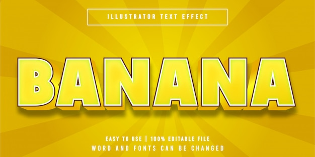 Banana fruity cartoon style editable text effect