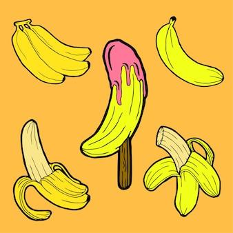 Banana hand drawn stock