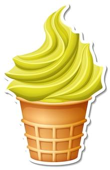 Gelato alla banana nell'adesivo cono di cialda