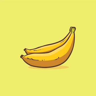 Банан значок изолированные векторные иллюстрации с контуром мультфильм простой цвет