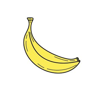 Значок банана на белом фоне. векторная иллюстрация. простая желтая рука нарисованные банан значок на белом