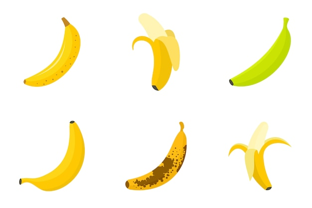 Banana icons set