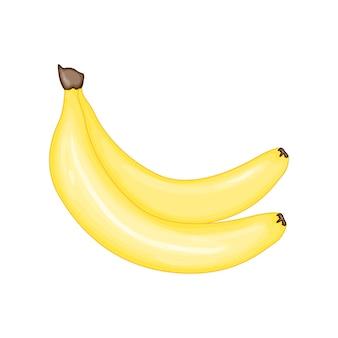 かわいい漫画風のバナナ。白い背景で隔離のベクトルイラスト。