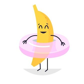ピンクの浮き輪イラストのバナナ