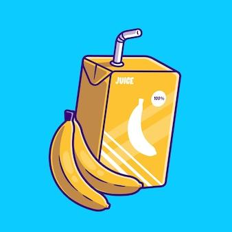 バナナジュースボックス漫画イラスト。フラット漫画スタイル