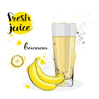 Banana juice fresh hand drawn watercolor fruits and glass on white background