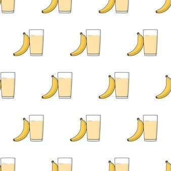 白い背景の上のバナナジュースのシームレスなパターン。バナナのテーマのベクトル図