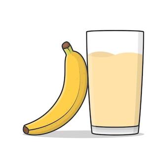 Banana juice with banana isolated on white