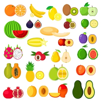 Banana and kiwi, orange and apple, pear and pineapple, watermelon, plum and apricot, melon, avocado and peach, dragon fruit and mango, papaya and pomegranate, fig and feijoa, carambola and durian