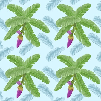 Banana leaf with flowers seamless pattern.
