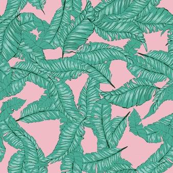 Banana leaves tropical seamless pattern.