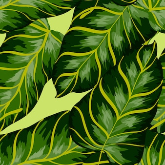 Banana leaves tropical seamless pattern.