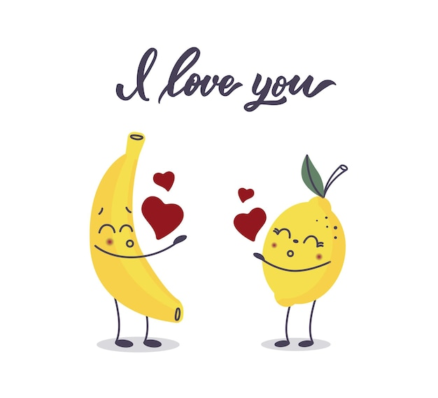 A banana and a lemon in love.i love you lettering.