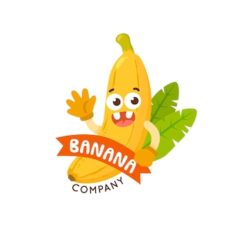 Banana logo company with leaves