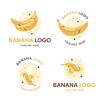 Набор шаблонов логотипа банан