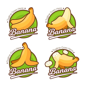 Insieme di modelli di logo di banana