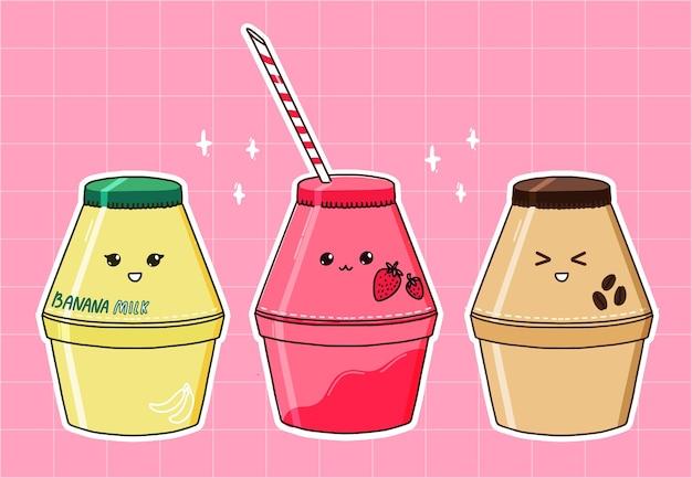 Бутылка бананового молока, клубничный и кофейный ароматизаторы. популярный корейский напиток, эстетика кавайи. набор из трех напитков. векторный дизайн наклеек.