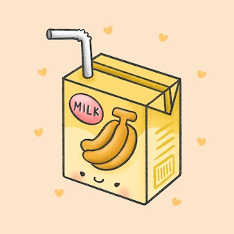 Banana milk cartoon hand drawn style