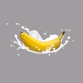 Banana and milk splash, 3d vector icon