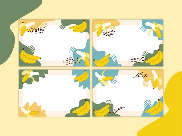 Banana modern background with memphis elements premium