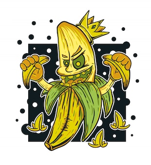 Banana monster king vector illustration