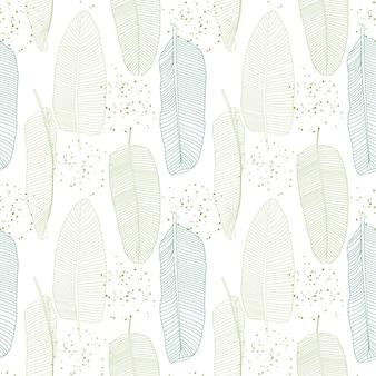 バナナ ヤシの葉 ナチュラル シームレス パターン