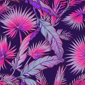 Banana and palm tree leaves on dark purple background