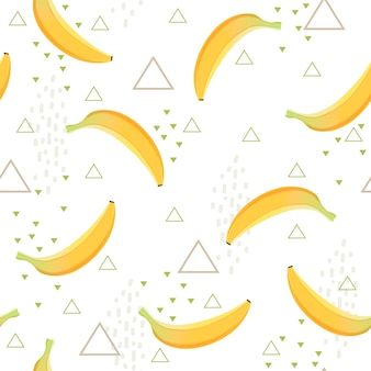 Banana pattern. healthy dessert fruit eating food vector seamless background