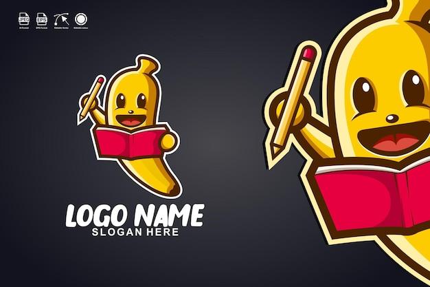 바나나 읽기 책 귀여운 마스코트 캐릭터 로고 디자인