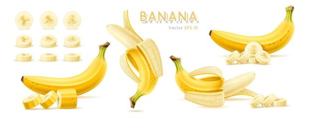 バナナ熟した黄色のトロピカルフルーツイラストのセット