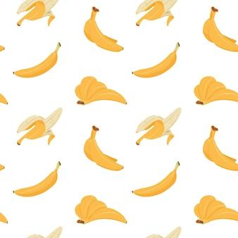 바나나 완벽 한 패턴입니다. 노란색 껍질, 여러 개 및 단일 바나나의 만화 질감, 평평한 열대 과일 직물 디자인. 인쇄용 벡터 일러스트 레이 션 패턴 익은 과일 디저트