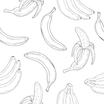 Banana seamless pattern in engraved style