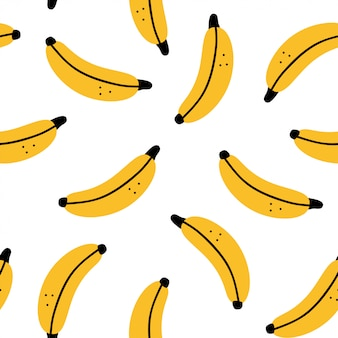 Banana   seamless pattern on a white background for wallpaper, wrapping, packing, and backdrop.
