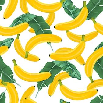 Banana seamless pattern with banana leaves