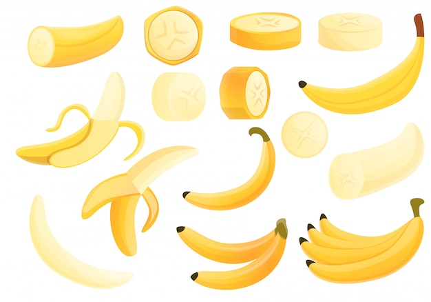 Banana set, cartoon style
