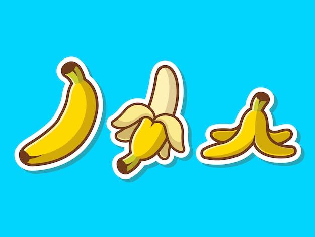 Банан набор фруктов стикер вектор наклейки иллюстрации.