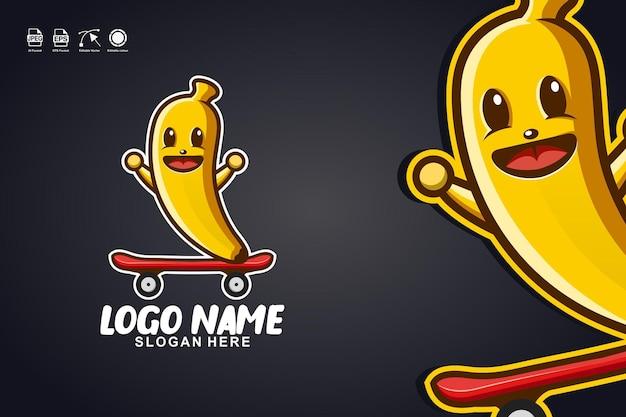 バナナスケートボードかわいいマスコットキャラクターのロゴデザイン