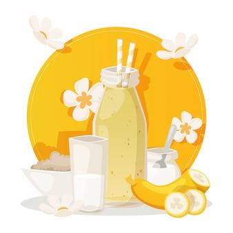 Banana smoothie, ingredients for fresh healthy beverage,   illustration