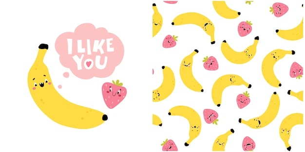 Banana strawberry greeting card with the words i like you. creative seamless pattern. funny characters with happy faces. cartoon illustration in simple hand drawn scandinavian style.
