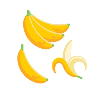 평면 그림에서 바나나 열대 과일