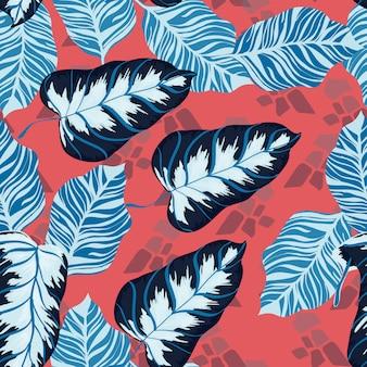 バナナトロピカル葉花柄エキゾチックなシームレスパターン。