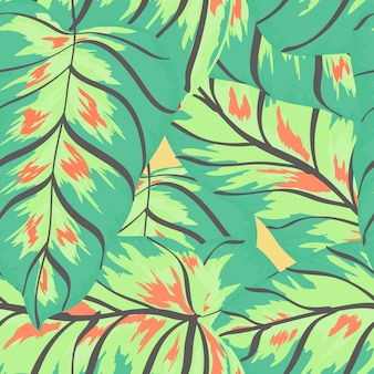 Banana tropical leaves floral print exotic seamless pattern.